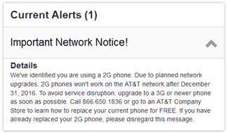 AT&T, We've identified you are using a 2G phone.