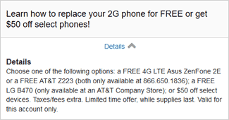 AT&T free or $50 phone upgrade offer for current 2G customers
