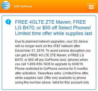 AT&T no charge phone upgrade offer for current 2G customers who must upgrade before December 31, 2016