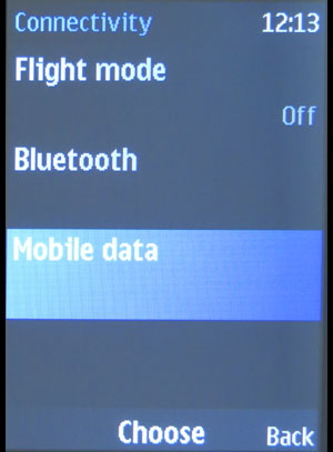 Nokia 220 connectivity screen