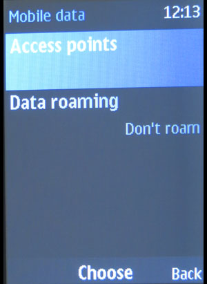 Nokia 220 mobile data screen