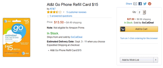 Amazon.com 2x $15 AT&T GoPhone refill card