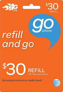 $30 AT&T GoPhone refill card