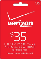 Verizon Wireless refill card